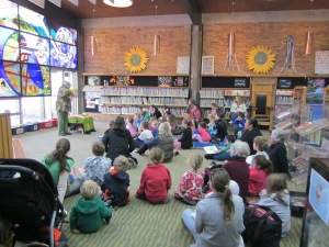 We were on our way to Gisborne so I could do this. It was my first of 24 libraries. Great turnout. Warm welcome. Knockout gorgeous library. Notice the stained glass.